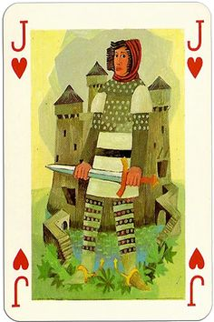 Knights of the round table Grimaud France design by Jean Bruneau Jack of hearts Jack Of Hearts, Heart Cards, Deck Of Cards, Ephemera, Playing Cards, France, Knights, Holiday Decor, Decks