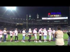 Blue Sky Riders singing the National Anthem at the Atlanta Braves' Turner Field for Breast Cancer Awareness day.  #bravetogether | Kenny Loggins | Georgia Middleman | Gary Burr |