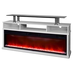 Lifesmart Uptown Series 60 Media Console Fireplace w/Northern Lights FX - White