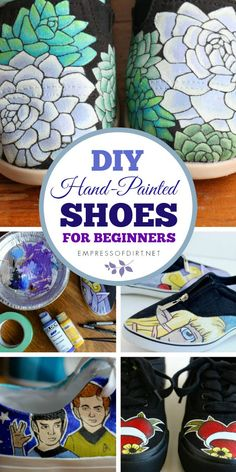 How to paint shoes shows the acrylic paint and art supplies needed to create your own designs on canvas shoes and sneakers.