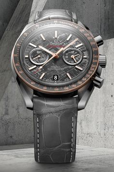 "Omega Speedmaster Grey Side Of The Moon Meteorite Watch - on aBlogtoWatch.com ""For Baselworld 2016, Omega has made a big push to incorporate METAS Master Chronometer movements into their watches, but not all pieces are getting that specific upgrade. For one of their latest releases, they have come out with a new version of the Speedmaster Grey Side of the Moon made with a historically apt material. The new Omega Speedmaster Grey Side of the Moon Meteorite watch seems a bit obvious..."""