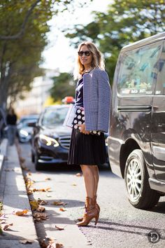 houndstooth & pleats with LV booties. #AlexandraGolovanoff in Paris.