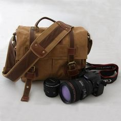 CANVAS Camera  Bag - SATCHEL -  shoulders canvas with cowhide backpack -Padded Camera Insert - Hand Crafted - (301). $59.99, via Etsy.