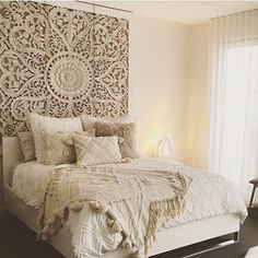 "71 ""Large Thai Wall Art King Size Bed Sculpture Bohemian Headboard Decorative Flower Mandala Wooden Hand Craved Teak Wood Panel White Decor – Alex Stevenson - Decoration For Home Dream Bedroom, Home Bedroom, Bedroom Ideas, Bed Ideas, Bali Bedroom, Master Bedrooms, King Size Bed Headboard, King Size Beds, King Size Bedding"