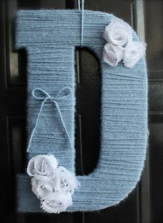 Yarn wrapped letter, customizable. $13.00, via Etsy.