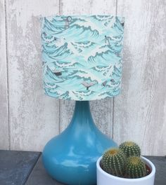 Quirky Sea Blue Fabric Covered Lampshade. by Lightflightlighting