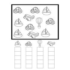 Montessori Activities, Infant Activities, Preschool Activities, Preschool Writing, Kindergarten Math Worksheets, Teaching Kids, Kids Learning, Transportation Unit, Math For Kids