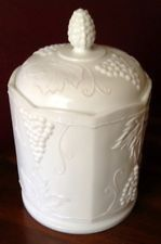 VINTAGE WHITE MILK GLASS INDIANA GLASS COLONY HARVEST GRAPE CANISTER JAR 9.5 in American Decor, Indiana Glass, Early American, Canisters, Milk Glass, Over The Years, Colonial, Harvest, Mid Century