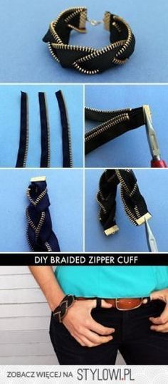 Bracelets made from a jean zipper!  #DIY