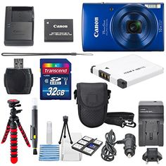 Canon PowerShot ELPH 190 IS Digital Camera (Blue) with 10x Optical Zoom and Built-In Wi-Fi with 32GB SDHC + Flexible tripod + AC/DC Turbo Travel Charger + Replacement battery + Protective camera case http://cameras.henryhstevens.com/shop/canon-powershot-elph-190-is-digital-camera-with-10x-optical-zoom-and-built-in-wi-fi-with-deluxe-bundle/?attribute_pa_size=32gb&attribute_pa_color=blue&attribute_pa_customerpackagetype=original https://images-na.ssl-images-amazon.com/images/I