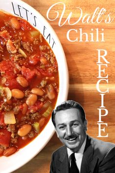 Delicious chili from Carnation Cafe, Dianeyland. ❤️😊 Chili Recipes, Copycat Recipes, Drink Recipes, Disney Food, Disney Recipes, Disney Parks, Rolls Recipe, Recipe Recipe, Strawberry Soup