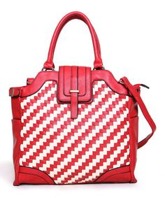 Look what I found on #zulily! Segolene Paris Red & Off White Two-Tone Woven Tote by Segolene Paris #zulilyfinds