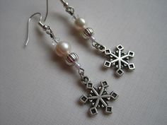 Silver Snowflake Earrings with Pearl Acccents  by AprilLynnArts, $17.00