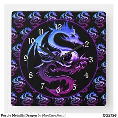 Purple Metallic Dragon Square Wall Clock Wall Clocks, Portal, Colorful Backgrounds, Party Supplies, Metallic, Dragon, Display, Purple, Artwork