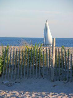 Sailboat waiting on the beach, Cape May, NJ by deborah bullick via Flickr