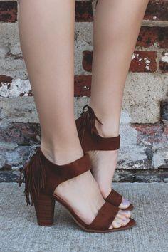 Faux Suede Toe Strap Fringe Detail Heel Ramble-S – UOIOnline.com: Women's Clothing Boutique