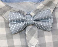 Little Boys Classic Polka Dots Bow Tie Light Gray