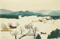Over the River to Grandma's House on Thanksgiving Day by Grandma Moses
