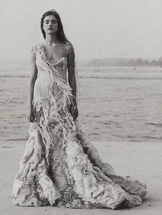 mcqueen - tissue dress with coral embellishments