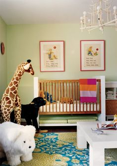"Charlotte, NC, boutique owner Laura Vinroot Poole sidestepped standard pink and ""too fluffy"" decor when it came to this gender-neutral nursery for her daughter Fifi. Nicole would love the retro-style chandelier and scarlet-framed vintage Dick and Jane prints in this refreshing mint green space."