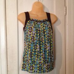 Dressy tank top w/ bead trim Brown, turquoise, and lime print with brown straps.  Gathered neckline had beaded detail. Very cute!  Only worn 2 or 3 times, in great condition! Tops Tank Tops