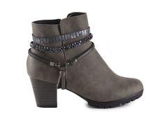 Rieker - Dámské zateplené polokozačky  se zdobnými pásky a zipem šíře G 98368-42 / šedá Biker, Booty, Ankle, Zip, Shoes, Fashion, Moda, Swag, Zapatos