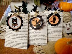 Vintage Halloween Decorating Ideas | Supplies - 3 book pages, black glitter card stock, paper, just twine ...