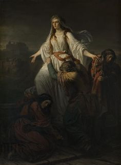 """Maksymilian Piotrowski """"Śmierć Wandy"""" (1859), Muzeum Narodowe w Krakowie - Sukiennice"""