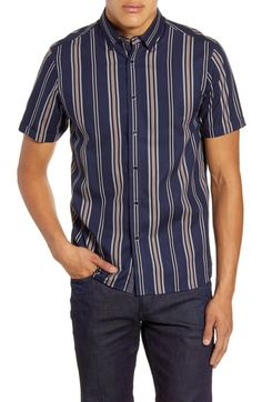 online shopping for Ted Baker London Doigt Slim Fit Short Sleeve Stripe Button-Up Shirt from top store. See new offer for Ted Baker London Doigt Slim Fit Short Sleeve Stripe Button-Up Shirt Ted Baker, Button Up Shirt Mens, Nordstrom, Houndstooth Dress, Long Sleeve Polo, Cut Shirts, Shirt Price, Online Shopping Stores, Sports Shirts