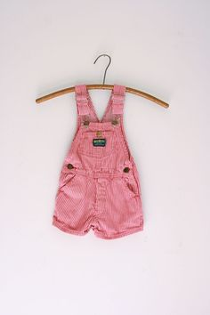 Vintage overalls for children red and white striped short osh kosh bgosh overalls 2t 3t by fuzzymama on Etsy