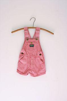 Vintage overalls for children red and white striped short osh kosh bgosh overalls 2t 3t by fuzzymama on Etsy