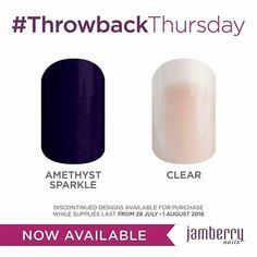 #TBT wraps. Available Thurs 27th-1st Aug. Order yours at Nailbox.jamberry. com #TBT #limitedtime #5daysonly #amethyst #clear #jamberrynails #jamberry #solidcolour #nailbox http://bit.ly/2aaKFvF