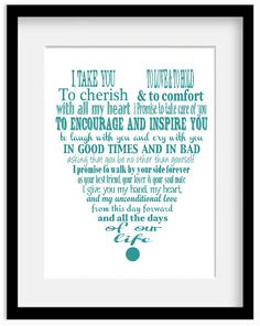 Personalized Wedding Vows Modern Typography by babydeliciousuk, $18.95
