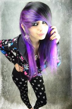 Find images and videos about scene, site model and purple hair on We Heart It - the app to get lost in what you love. Undercut Hairstyles, Pretty Hairstyles, Emo Hair Color, Hair Colour, Cute Scene Hair, Purple Black Hair, Rock Star Hair, Corset, Scene Girls