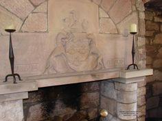 Castle Hearth at Hunterson Castle, Ayrshire Scotland Hunter family shield