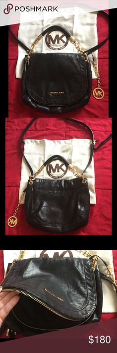 Michael Kors Over The Shoulder Bag. Black leather MK purse with dust bag. Great condition.  Gold metal details.  Med. size. Michael Kors Bags Crossbody Bags