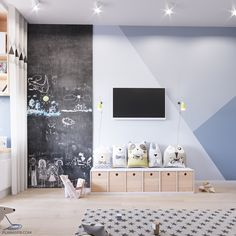 Idea for how to paint the wall in the dining room (i like the chalk board addition too!