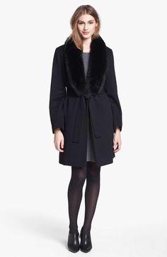 Fleurette Tuxedo Wrap Coat with Fur Collar