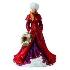 "Royal Doulton Ladies Figurine Holiday Greetings, Christmas Figure Of The Year 2013, 8.75"" Royal Doulton"