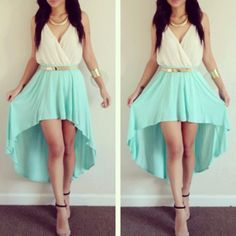 dress mint classy perfect golden dressy formal summer outfits girly fashion high-low dresses glamourous prom dress jewels blue white gold belt goddess beautiful gold jewelry teal blue and white turquoise dress blue dress formal dress Winter Formal Dresses, Formal Dresses For Teens, Casual Dresses, Summer Dresses, Dress Formal, Teen Dresses, Dress Winter, Maternity Dresses, Summer Outfits