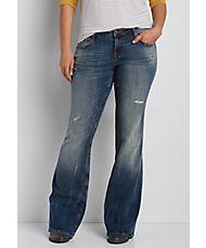 Vigoss® plus size flare jeans with destruction