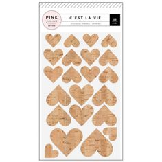 Pink Paislee C'est La Vie stickers Cork with Gold Glitter hearts