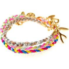 Ettika Triple Stack Multi Color Satin Cord Bracelet ($70) ❤ liked on Polyvore