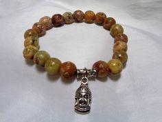 Amber Soapstone Beaded Stretch Bracelet with Silver Buddha Charm by NfntyArt on Etsy