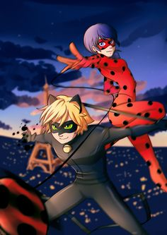 Miraculous Ladybug and Chat Noir by Kiwa007.deviantart.com on @DeviantArt