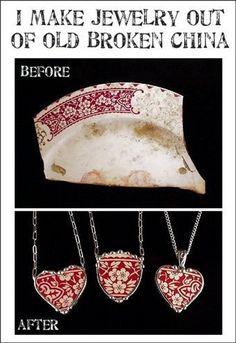 Dishfunctional Designs: How To Upcycle Thrift Shop Finds Into Trendy Home Decor: Jewelry from Broken China - would be neat to use heirloom china and turn the charms into ornaments! Wire Jewelry, Jewelry Crafts, Beaded Jewelry, Jewelery, Handmade Jewelry, Soldering Jewelry, Diy Jewellery, Jewelry Ideas, Jewelry Shop