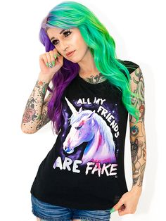 """Women's """"All My Friends Are Fake"""" Tank by Goodie Two Sleeves (Black)"""