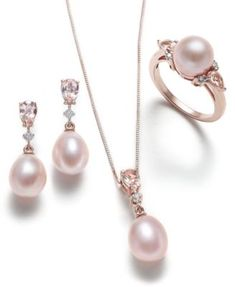 Pink Cultured Pearl, Morganite and Diamond Jewelry Collection in 14k Rose Gold | macys.com