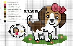 Fuse Bead Patterns, Beading Patterns, Pixel Crochet Blanket, Dog Crafts, Simple Cross Stitch, Cross Stitch Animals, Fuse Beads, Le Point, Counted Cross Stitch Patterns