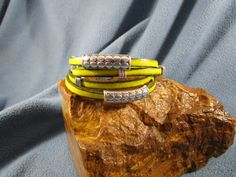 2 Strands Yellow 5mm Flat Leather Double Wrap Bracelet with Gunmetal Magnetic Clasp and Silver Sliders